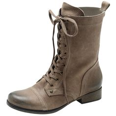 Vince Camuto Richell Boot ($50) ❤ liked on Polyvore featuring shoes, boots, combat boots, taupe brown, brown military boots, brown leather lace up boots, vince camuto shoes and military boots