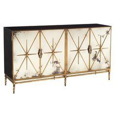 Adalyn Hollywood Regency Antique Mirror Gold Black 4 Door Sideboard. #kathykuohome #sideboard #HollywoodRegency