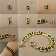 DIY Emerald City Flat Spiral Bracelet! This is a really creative technique to make bracelet in spiral way, which makes the bracelet chic and elegant! Perfect for formal occasions! Cheap bracelet idea that looks expensive! #elegantbracelettutorial #greatjewelryforanyoccasion #chicbraceletdiy