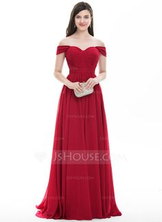 A-Line/Princess Off-the-Shoulder Sweep Train Ruffle Zipper Up Regular Straps Sleeveless No Burgundy Spring Summer Fall General Plus Chiffon Hight:5.7ft Bust:32in Waist:24in Hips:35in US 2 / UK 6 / EU 32 Prom Dress