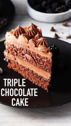 This triple chocolate cake is super moist and delicious and easy to prepare. Triple Chocolate Cake Recipe by also pleasing the crumbs cake This triple chocolate cake is super moist and delicious and easy to prepare. Triple Chocolate Cake Recipe by Food Cakes, Cupcake Cakes, Cupcakes, Delicious Desserts, Dessert Recipes, Easy Cake Recipes, Chocolate Buttercream Frosting, Savoury Cake, Chocolate Cake Recipes