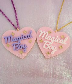 This magically adorable necklace is made of acrylic pieces designed by Cute Parade. Each heart pendant features the the words Magical Boy surrounded