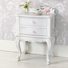 NEW! Emily White Painted Bedside Table  |  Bedside Tables  |  Tables  |  French Bedroom Company