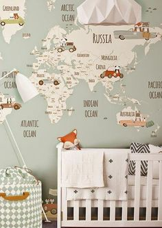 Retro cool travel theme wallpaper mural in this baby nursery - Unique Nursery Ideas & Children's Room Decor -  Little Hands Wallpaper Mural