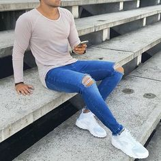 Nike Outfits, Cool Outfits, Casual Outfits, Men Casual, Mens Fashion Wear, Look Fashion, Fashion Outfits, Super Skinny Jeans, Jeans Fit