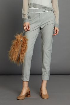 Cogent Pant - Silver Pinstripe Minimal Beauty, Aw17, Winter White, Luxury Fashion, Contrast, Capri Pants, Dressing, The Incredibles, Silver
