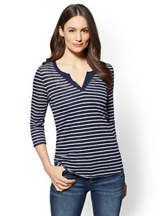 Shop Split-Neck Top - Stripe. Find your perfect size online at the best price at New York & Company.