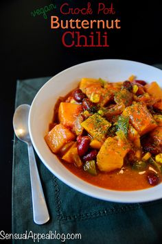 Butternut Chili {Healthy Crock Pot Recipe} OUTCOME:  omg it's delicious. I did add a bit of Italian sausage.  The squash melted, which is good because the kids might have complained
