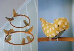 Great usage of embroidery hoop, good for birds and all sorts of other fun ideas!