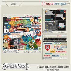 Travelogue Massachusetts - Bundle Pack Designs by Connie Prince Digital Scrapbook Kit Boston Massachusetts