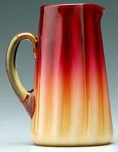 New England Glass; Amberina (Plated), Creamer, 6 inch., c. 1880-1890