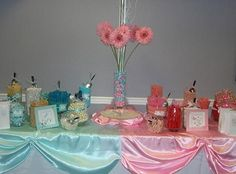 Baby Shower Candy Centerpieces | Begin buy getting some clear glass jars in different sizes and ...
