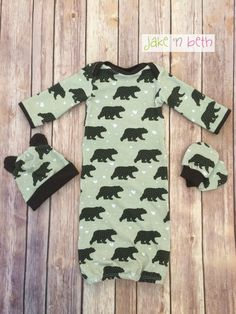 A personal favorite from my Etsy shop https://www.etsy.com/listing/277042518/bear-baby-gown-hat-and-no-scratch