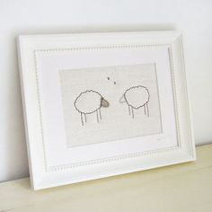 big ivory 'sheep' stitched picture by Charlotte Macey textiles