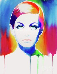 Icon 67 (Twiggy)- Print- Kimberly Godfrey- Luminosity Online Art Exhibition - International Gallery Of The Arts (IGOA) Teal Artwork, Teal Wall Art, Colorful Wall Art, Colorful Paintings, Fashion Illustration Vintage, Illustration Art, Neon Rainbow, Rainbow Colors, Blue Painting