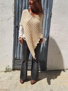 Knit cream poncho, women knit poncho, hand knit wool wrap, wrap sweater, cream…