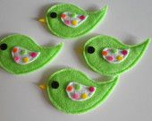 Set of 4 Pc handmade felt appliques lime with gumdrop wings custom colors available!
