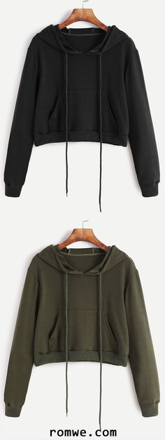 Drawstring Hooded Crop Sweatshirt With Pocket