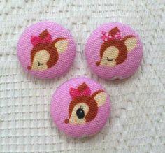 Fabric Button 22mm - Glitter Bambi Pink