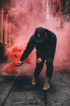 Red smoke bomb photography