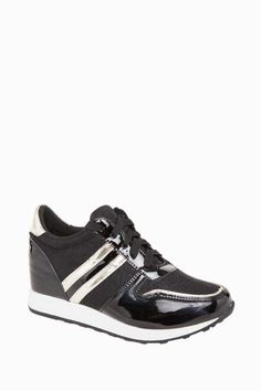 Wedge Patent Trainers Sneakers With Golden Details