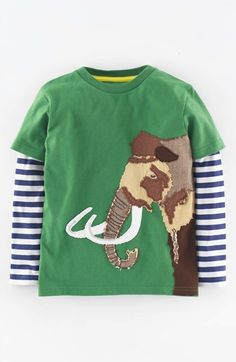 "Free shipping and returns on Mini Boden Appliqué Layer Look T-Shirt (Toddler Boys, Little Boys & Big Boys) at Nordstrom.com. <p><b style=""COLOR:#990000"">Pre-order this style today! Add to Shopping Bag to view approximate ship date. You'll be charged only when your item ships.</b></p><br />Long, striped sleeves add a cozy layered look to a soft cotton T-shirt with a friendly animal appliqué."