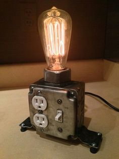 15 Edgy and Industrial Table Lamps Industrial desk lamp with working plugs from MartyBelkDesigns on Etsy Industrial Desk, Industrial Lighting, Industrial Furniture, Diy Furniture, Furniture Removal, Rustic Industrial, Steampunk Furniture, Industrial Wallpaper, Pipe Lighting