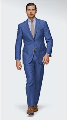 Very bold.  Not sure I could do this. Blue wool-linen suit from Suit Supply ($470, suitsupply.com) in a fitted Italian cut.    Read more at Men's Health: http://www.menshealth.com/style/lightweight-spring-suits?cm_mmc=Twitter-_-MensHealth-_-Content-looks-_-suitup##ixzz1wndiElkK