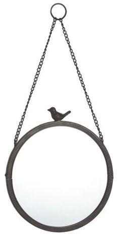 NEW Vintage Rustic Bronze Metal Hanging Round Bird Wall Mirror 27cm Home Gift in Home, Furniture & DIY | eBay