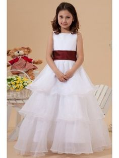 Organza Square Floor Length A-line Flower Girl Dress