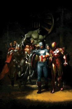 Some very Rembrandt-esque comic book art: The Avengers by Gerald Parel. Comic Book Characters, Comic Book Heroes, Marvel Characters, Comic Character, Comic Books Art, Comic Art, The Avengers, Avengers Comics, Avengers Universe