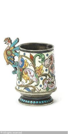 FABERGÉ Karl (Carl), 1846-1920 (Russia) Title : Vodka cup Date :   Category : Enamel Medium : : silver-gilt and shaded enamel