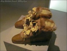 Empress Josephine's ribbon-laced fur bottines by LeRoy, Musée de Luxembourg Chateau.