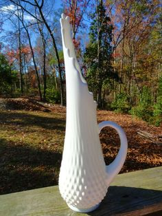 """VTG 1950s MID Century Modern FENTON Milk Art Glass Swung Hobnail Ewer Vase 17"""""""