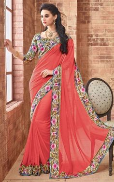 Melodic Red Latest Saree with Fashionable Blouse