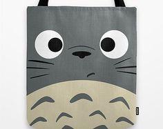 Totoro Kawaii mein Nachbar 13 x 13 Grafik Pop-Art Drucken Tote Bag grau Anime Manga Troll Hayao Miyazaki Studio Ghibli 16 x 16 18 X 18 Geschenk ihr ihn