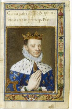 Hercule François, Duc d'Alençon, suitor for the hand of Elizabeth I, from Catherine de Medici's Book of Hours, created in the early 1570s.