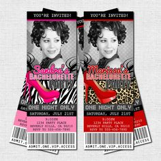 Personalized Bachelorette or Birthday Girls Night Out - VIP PARTY TICKET INVITATIONS