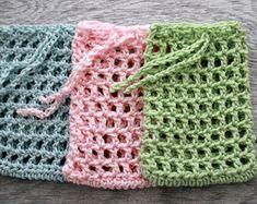 Crochet Soap Bag - Cotton Soap Sack - Handmade Soap Holder - Reusable Soap Pouch - Soap Cozy - Pink with Cream Border Crochet Basket Pattern, Crochet Patterns, Bead Crochet, Crochet Hooks, Crochet Dishcloths, Soap Holder, Cotton Crochet, Crochet Gifts, Crochet Projects