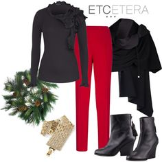A fashion look from October 2013 featuring wedge ankle boots, pine cone wreath and style poncho. Browse and shop related looks. Red Pants Outfit, I See Red, Sadie Hawkins, Green Jeans, Fashion Sets, Complete Outfits, Wardrobes, Black Sweaters, Black Boots