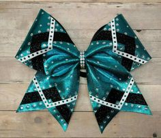 Teal and black cheer bow custom cheer bow rhinestone cheer Cute Cheer Bows, Cheer Mom, Team Cheer, Cheer Stuff, Competition Bows, Childrens Hairstyles, Jojo Bows, Cheerleading Bows, Cheer Dance