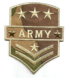 Military Inspired Army Patch ~ Green/Brown/Blue Iron On Patch