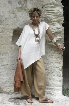 Originals silk clothes: Top made of raw silk natural color