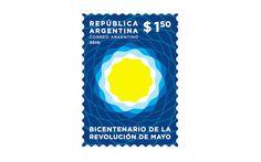 """Como toda identidad visual, también se diseñó el sello postal """"Bicentenario de la Revolución de Mayo"""". La tirada fue de 600.000 ejemplares disponibles en las sucursales del correo de todo el país. Fecha de emisión, 6 de marzo de 2010. Valor $1,50."""
