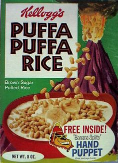 Old Kellogg's Cereal Boxes   Puffa Puffa Rice (snack pack)- Volcano