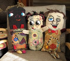 Dolls with embroidered faces made with recycled fabric - Jacque Davis