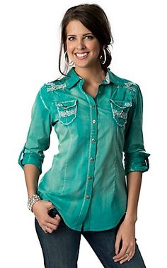 Roar® Women's Tighten II Teal Green with White Embroidery and Crystals Long Sleeve Western Shirt | Cavender's