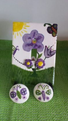 Light switch and drawer knobs Painted at The Painted Turtle Pottery Studio