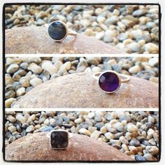 brushed silver with labradorite, amethyst or black rutile quartz stackable rings by sikara
