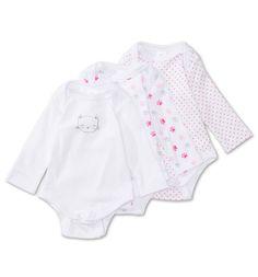 Frontimage view Bodies bebé in blanco / fucsia